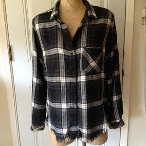 Cloth and Stone Frayed Edge Plaid Shirt SZ M